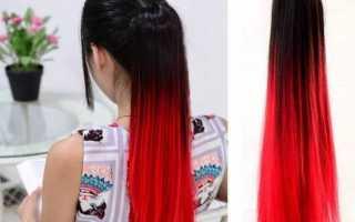 Омбре красным цветом на темные, русые и светлые волосы