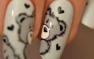 Мишка тедди на ногтях